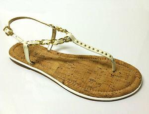 630bdbc02c84 ANTONIO MELANI Thong T-Strap Sandal Chain Studs Patent Leather White ...