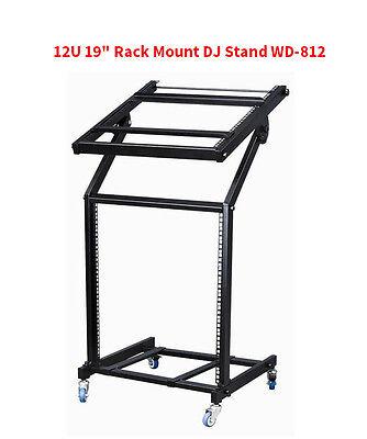 "Heavy Duty 12U 19"" Rack Mount Professional DJ Stand with Wheels WD-812"