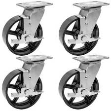 4 Pack 6 Vintage Caster Wheels Swivel Plate Black Iron Casters With Brake