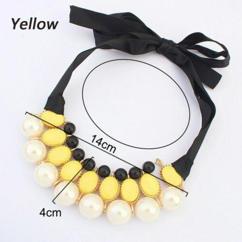 Big Fashion Collar Jewelry Resin Women Statement Ribbon Pendant Necklace Pearl