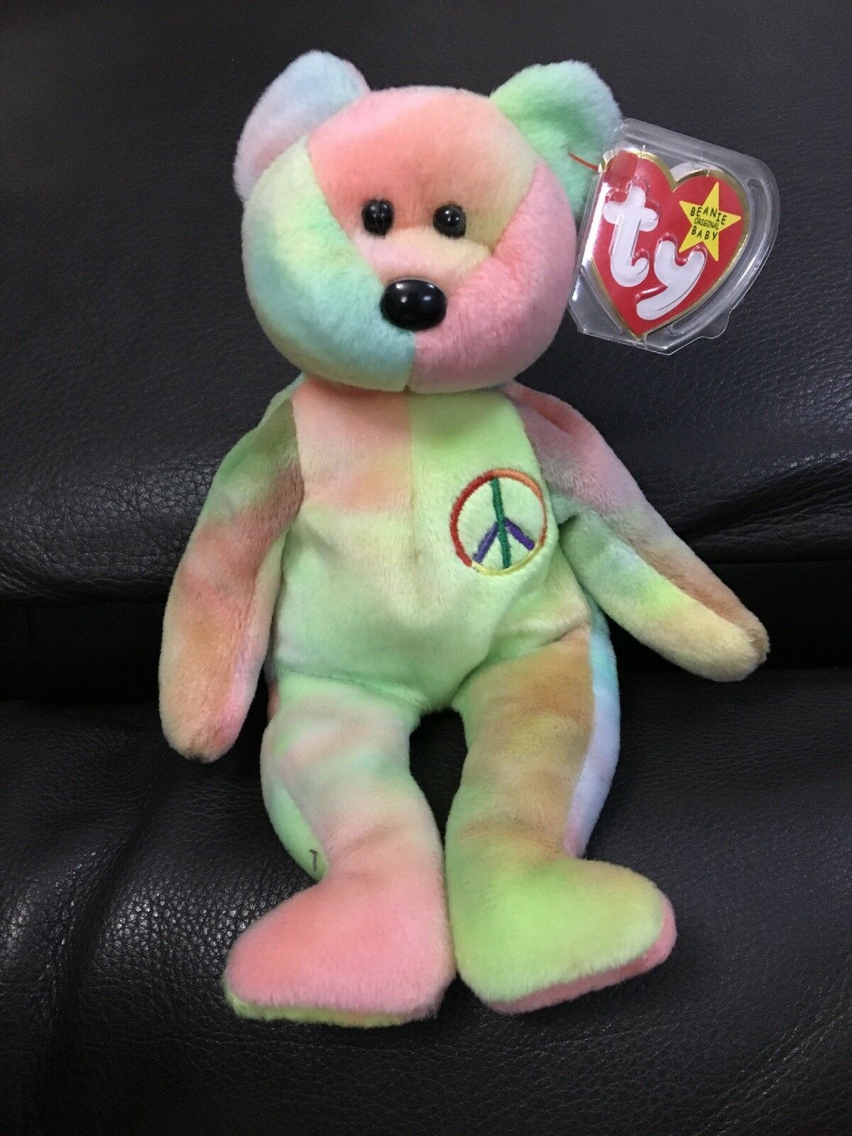 Rare TY Beanie Babies Teddy Peace Retired Bear Unique - Immaculate Condition