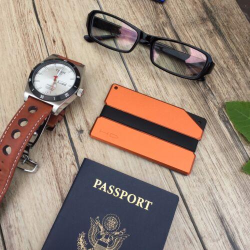 Orange//Black Aluminum RFID blocking minimalist wallet money clip slim HD