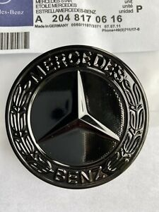 Mercedes-Benz-sport-Gloss-Black-Bonnet-Badge-57-mm-NEW-C-E-S-CLK-AMG-CLASSE-UK