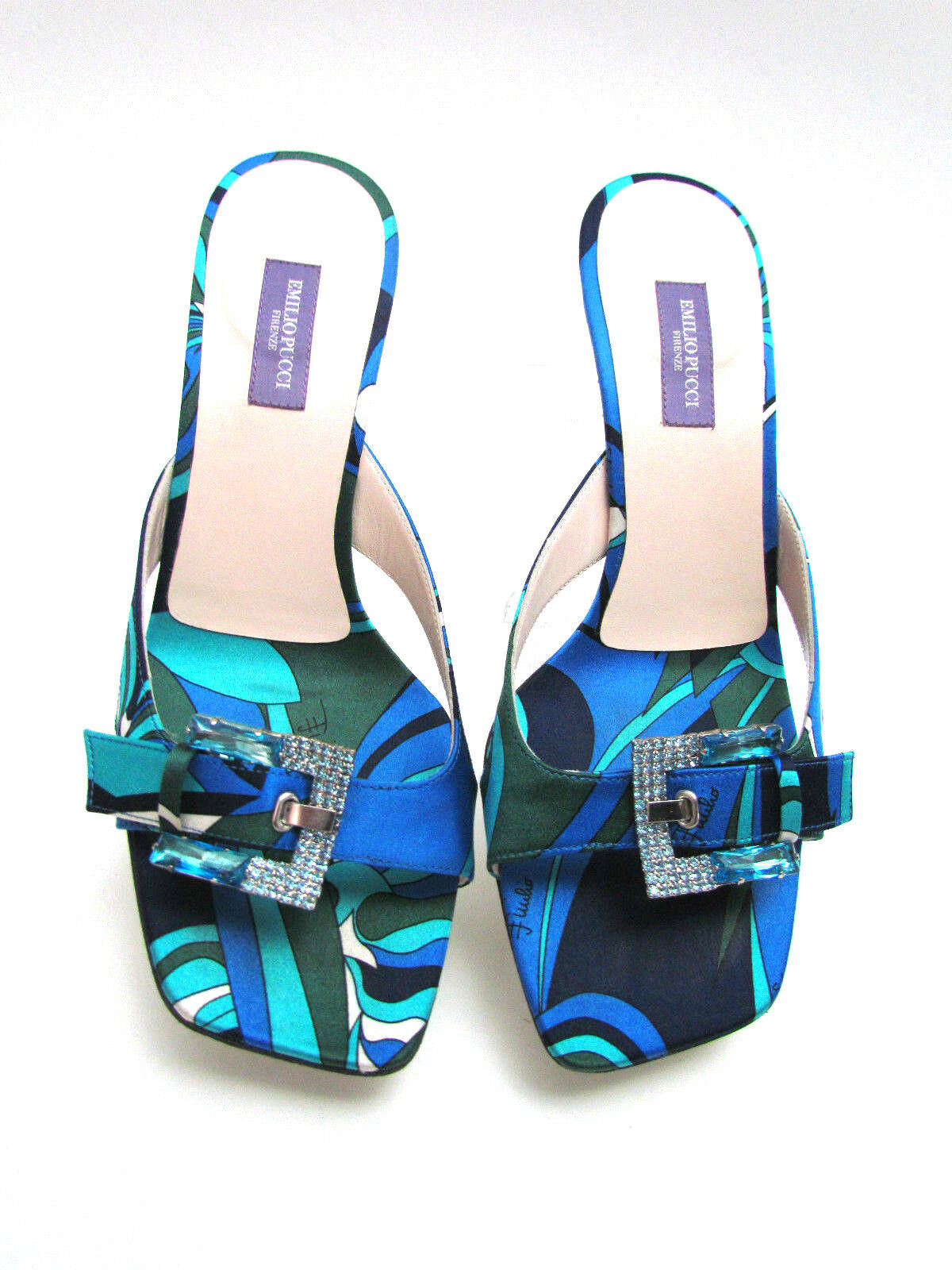 EMILIO PUCCI  MULTI Couleur  SATIN  & CRYSTAL BUCKLE MED HEEL SANDALS Taille 8 -38 M