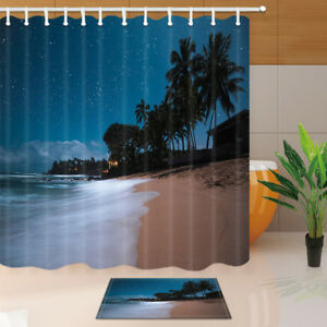 Nature Shower Curtain Night Beach Bathroom Set Accessories Waterproof 71x71/'/'