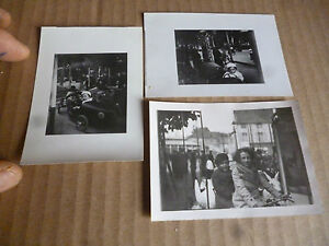 Ancienne-Photographie-Voiture-Manege-de-Fete-Foraine-Cygne-Ane-Velo-Fun-Fair-Car
