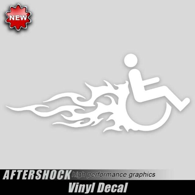 Handicap Wheelchair flaming hot rod decal car truck van sticker