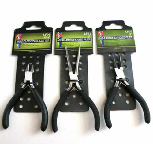 Round Nose Long Needle Nose Pliers Cutter New 3pc Combo Set Diagonal Cutting