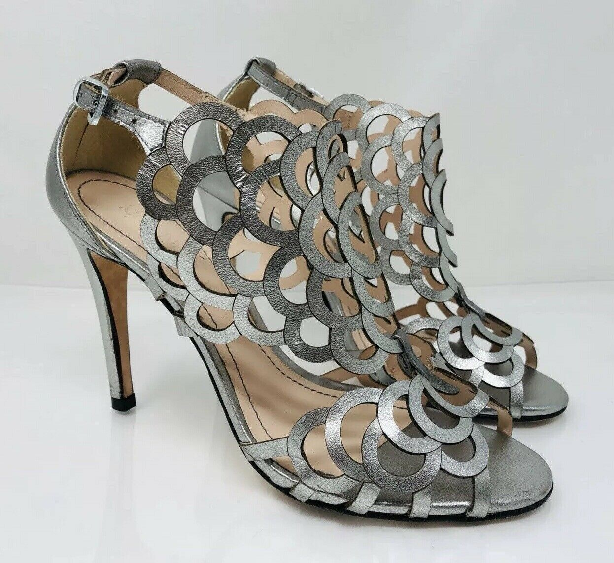 Klub Nico Women's 'Millie' Cutout Dress Sandal Size 5 Gunmetal Leather MSRP