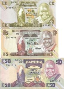 ZAMBIA Lot of 3 Notes 🌎 2, 5, 50 Kwacha, P- 24, 25, 28, UNC Lot; African EAGLE