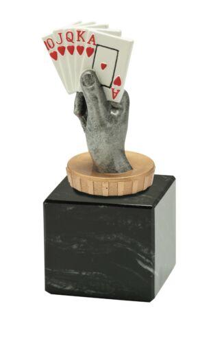 Kartenspiel Pokal in 12cm hoch inkl Figur in Multicolor Sockel-Beschriftung