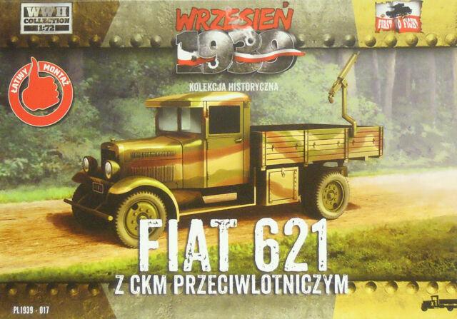 Autocarro Fiat 621 Con MG, First to fight , 1/72, Plastica, Nuovo