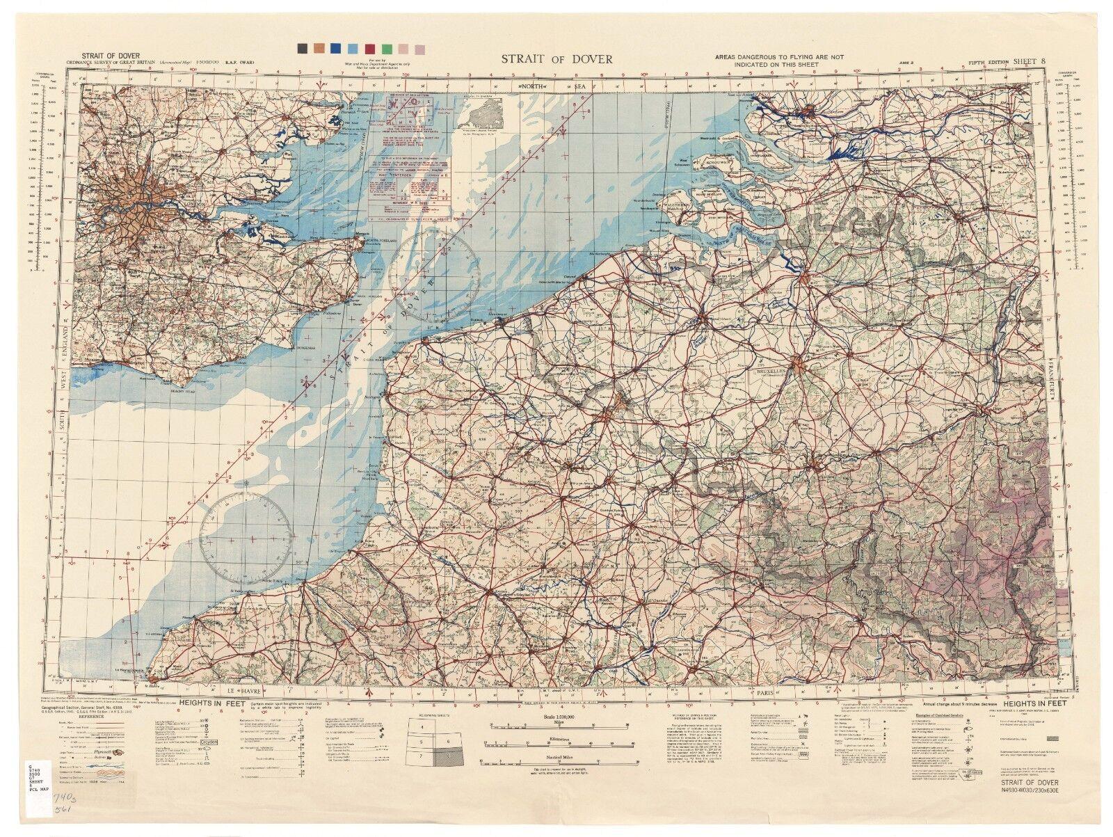 WW2 RAF MAP OF ENGLISH CHANNEL PRINT