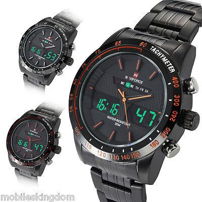 Naviforce Mens Digital Quartz Date Alarm Wrist Watch Sport Army Stainless Steel