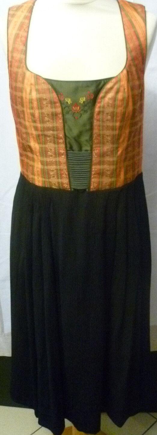 Damen Trachtenkleid Gr. 40 kupferorange schwarz Mischgewebe C&A