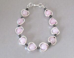 Rose-Quartz-Encased-Love-Heart-amp-Hematite-Beaded-Bracelet-Perfect-Gift