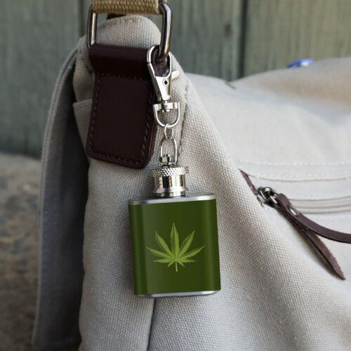 Marijuana Leaf Design Cannabis Pot Stainless Steel 1oz Mini Flask Key Chain