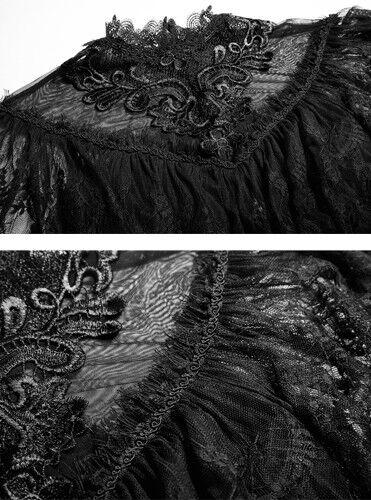 Top haut t-shirt gothique lolita baroque victorien cape dentelle rétro Punkrave