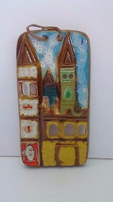 "Earthenware Castle Stoneware Hand Painted 9"" x 4-1/2"" Wall Plaque Wall Hanging"