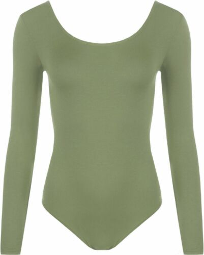 Women Ladies Bodysuit Scoop Neck Long Sleeved Plain Leotard Basic Top