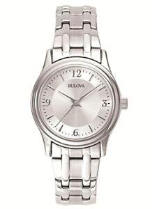 Bulova-Women-039-s-Quartz-Silver-Tone-Stainless-Steel-Bracelet-30mm-Watch-96L005
