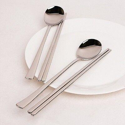 Spoon Chopsticks Stainless Steel Korean Japanese Rice Sushi Metal Chop Stick Set