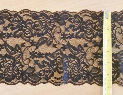 Design BLACK 17cm Wide Stretch Floral Lace Trimming 7/'/' Lingerie Costume Sewing