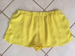 giallo Sz Mason in in elasticizzati 100 seta 2 Pantaloncini vita brillante foderati Nuovo corti a vita TxT6r17q