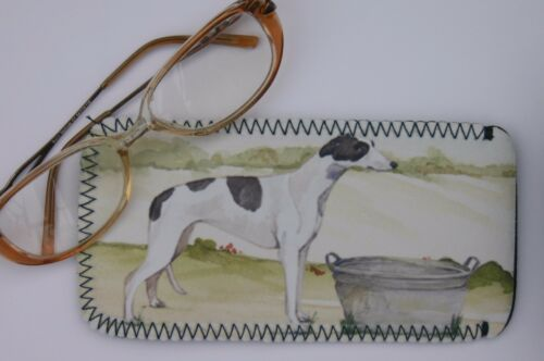 GREYHOUND DOG NEOPRENE GLASS CASE POUCH  SANDRA COEN ARTIST WATERCOLOUR PRINT