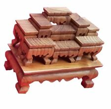 Mini Altar Wood Table Thai Buddha Set of 9 Pcs Worship Teak Other Buddhism
