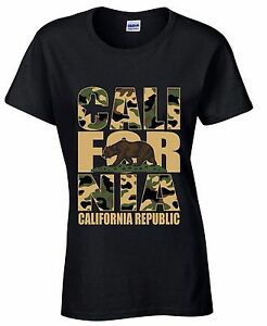 Cali-For-Nia-Camouflage-WOMEN-T-SHIRT-California-Republic-Bear-Gift-Ladies-Shirt