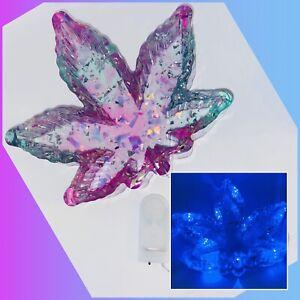New! Marijuana Leaf LED Light Up Ashtray Trinket Dish Large Blue & Purple