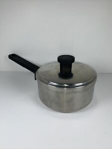 Vtg Wearever Stainless Steel Aluminum Core  1 Qt  Sauce Pan & Lid pot Wear Ever