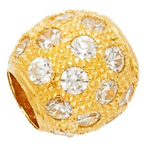 Bead Charm Pendant CZ Solid 14k Yellow Gold Ring For Chain Style Fancy  x  mm