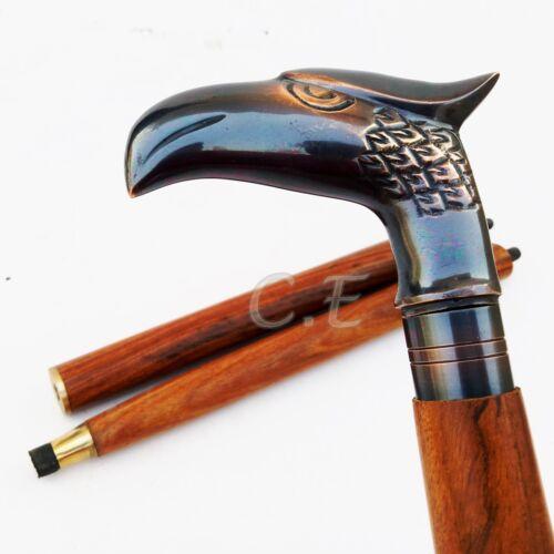 Vintage Antique Eagle Head Brass Handle Walking Cane Wooden Walking Stick Gifts