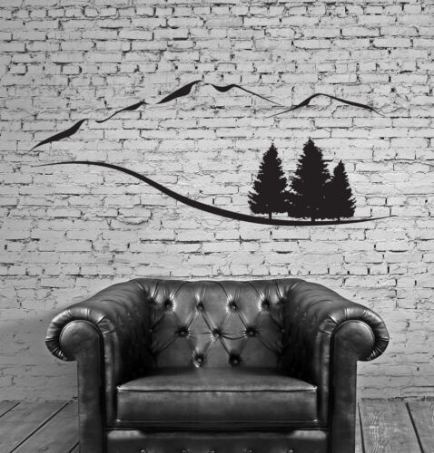 Wall Vinyl Sticker Decal Mountain Trees Snowy Peaks Mountain Resort n442
