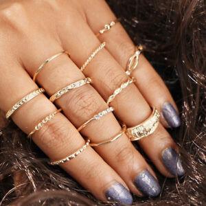 GUT-12-PC-Satz-Gold-Midi-Finger-Ring-Set-Vintage-Punk-Boho-Knoechel-Ringe-Schmuck