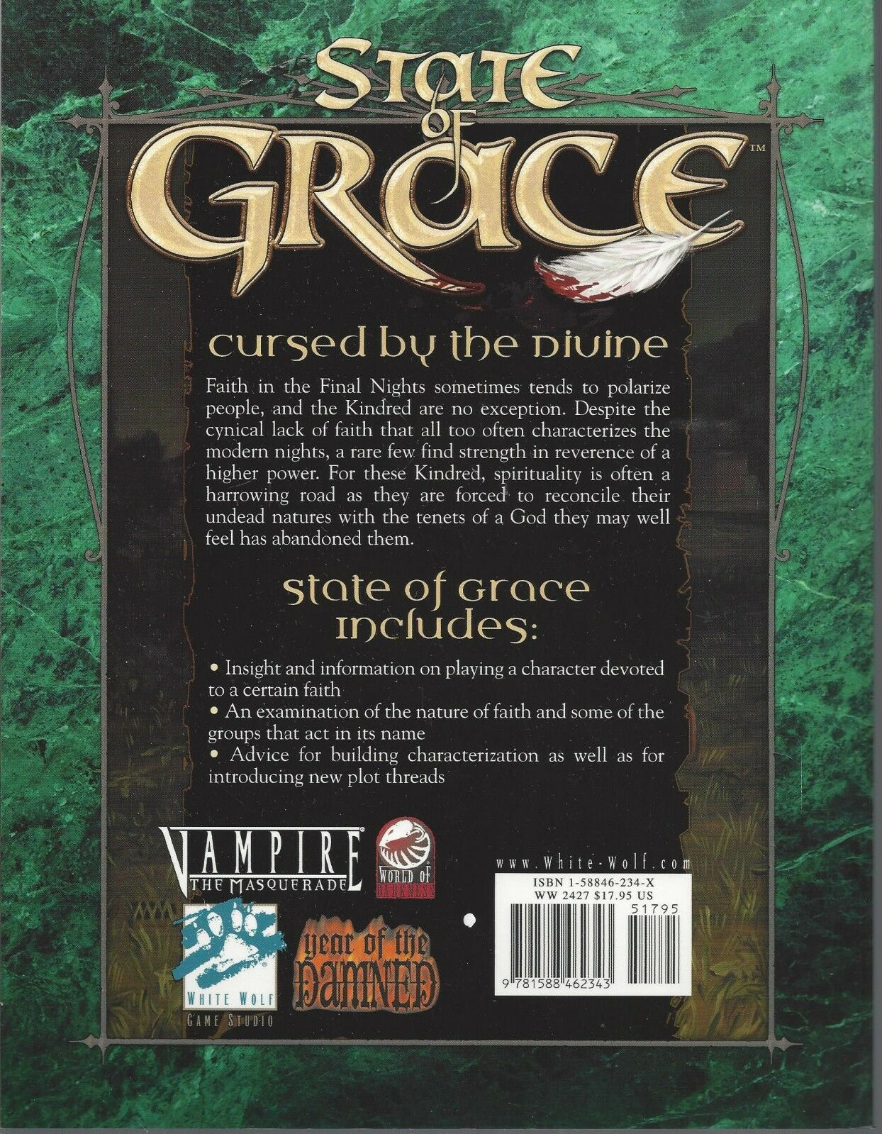 Vampire the Masquerade RPG State of Grace SC NEW OOP White Wolf WW 2427