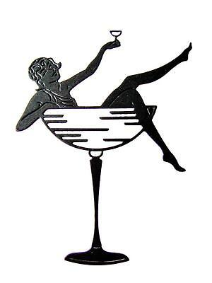 NEW TATTERED LACE LADY IN COCKTAIL GLASS DIE CUTS XMAS//PARTY TOPPER-ART DECO