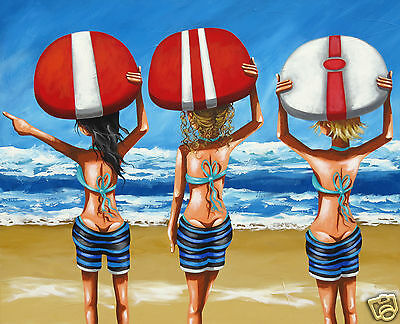 fishing beach sunset art print poster Australia modern COA by Andy Baker