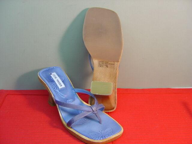 Womens STEVE MADDEN Light bluee Leather Butterfly Pattern Sandals Size 7.5
