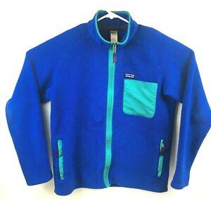 Patagonia-Mens-Sz-M-Two-Tone-Blue-Full-Zip-Fleece-Sweater-Jacket
