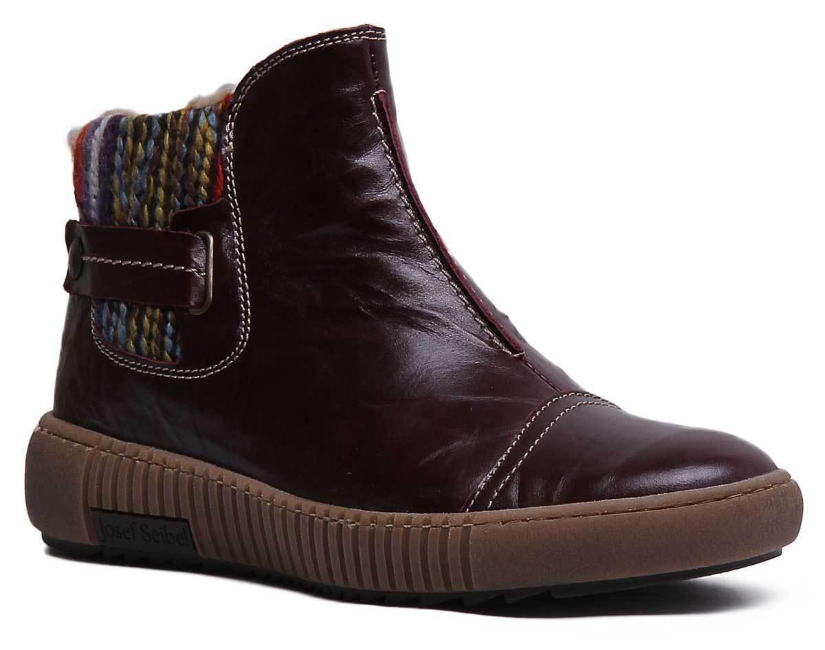 Josef Seibel Maren 07 Womens Sock Leather Chelsea Boots In Bordo Size UK 3 - 8