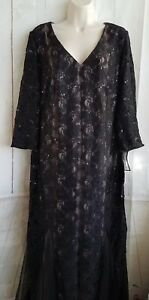 Alex-Evenings-Womens-Dress-Gown-Gala-Pageant-Sequined-Plus-Sz-16W-Black-E5-200