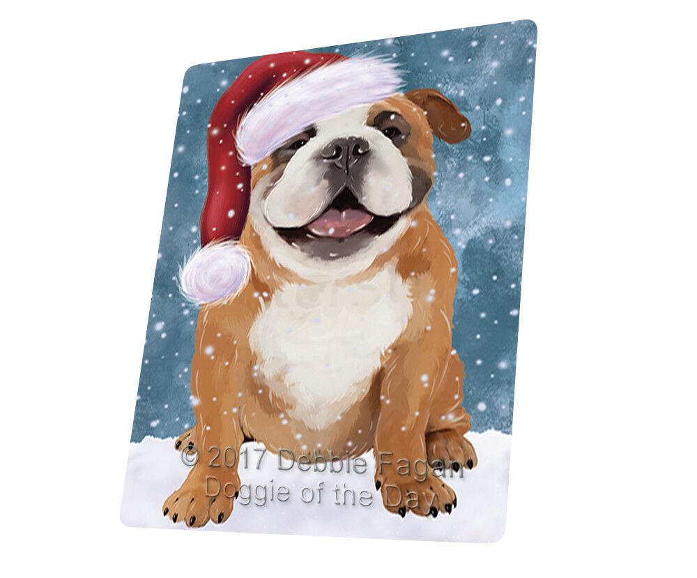 Let it Snow Christmas English Bulldog Dog Woven Throw Sherpa Blanket T229
