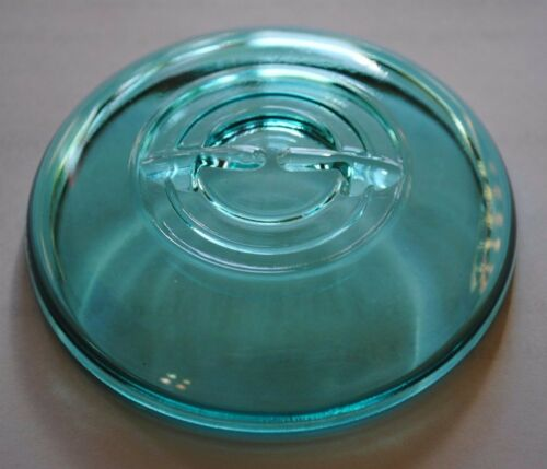 Vintage BLUE GLASS LID for Regular~Mouth Wire Bail Closure Ball.. Canning Jars