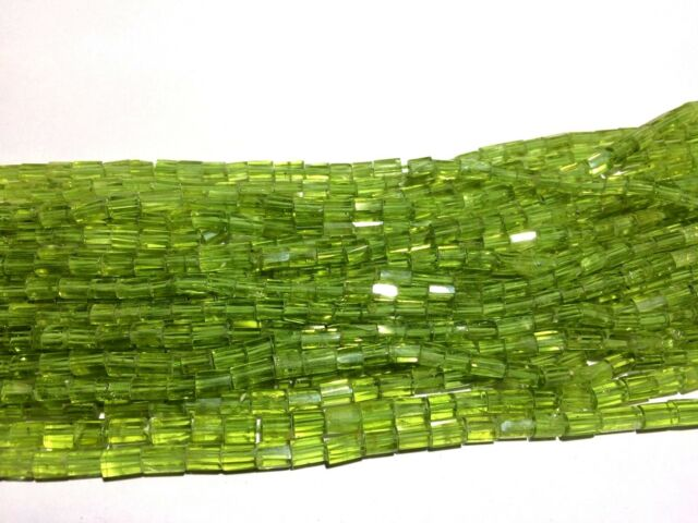 Natural Green Peridot faceted tube cylinder shape 3x5-4x7mm 33cm beads gemstone