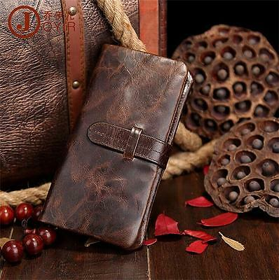 Genuine Leather Mens Bifold Wallet Credit ID Card Holder Slim Coin Purse Clutch