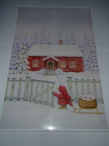 Scandinavian Swedish Tomte Gnome at Gate Print Poster #26 by Eva Melhuish