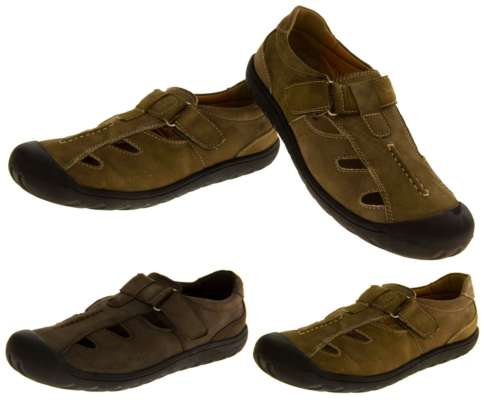 Mens LEATHER SHORESIDE Closed Casual Toe Walking Outdoor Sports Casual Closed Summer Sandals a0eb5a